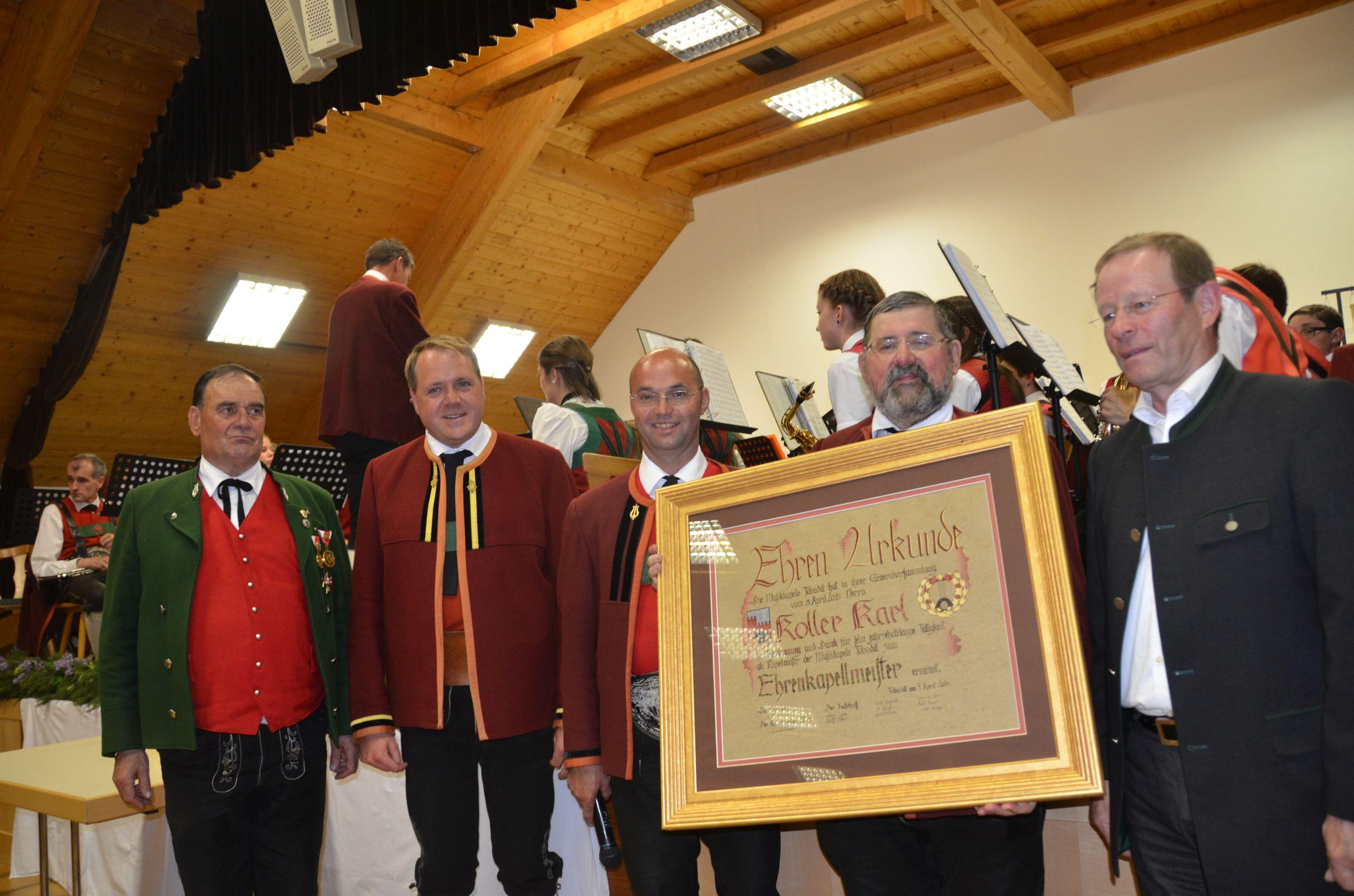 30 Jahre Kapellmeister der Musikkapelle Tobadill